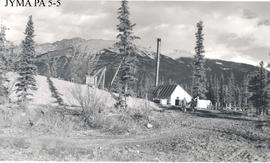 Boiler house and gravel dump at the construction site of the Athabasca Bridge, Jasper National Pa...