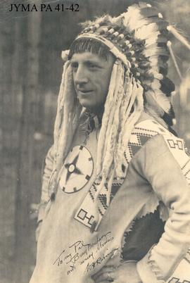W. H. Robinson in Indian clothing, Jasper National Park, Alberta.