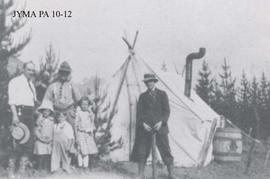 Group at the Engineer's camp, Fitzhugh, Jasper National Park, Alberta.