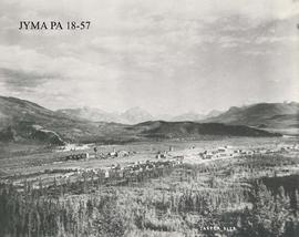 Aerial view of the town site and coal dock, Jasper, Alberta.
