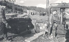 West abutment excavation for the Athabasca Bridge, Jasper National Park, Alberta.