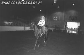 Jasper Rodeo Queen Contestant with her horse, Jasper Arena, Alberta