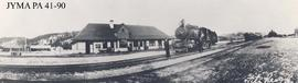 A panoramic view of the Fitzhugh Railroad Station, Jasper National Park, Alberta.