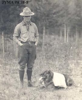 Curly Phillips with his dog, Jasper, Alberta.