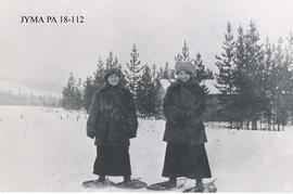 Mrs. Noble Findlay and Miss Lillian Taylor on snowshoes, Jasper, Alberta.