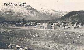 Aerial view of the Jasper town site taken from the coal dock, Jasper National Park, Alberta.