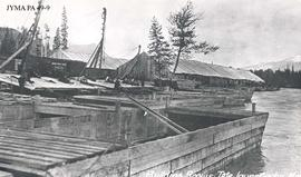 Building scows at Tete Jaune Cache for the Grand Trunk Pacific Railway, British Columbia.