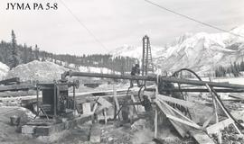 North abutment at the construction of the Athabasca Bridge, Jasper National Park, Alberta.