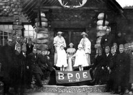 Carnival Queen with members of the Brotherhood Protective Order of Elk (B.P.O.E.) No. 116.