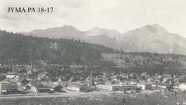 Aerial view of the Jasper town site, Jasper National Park, Alberta.