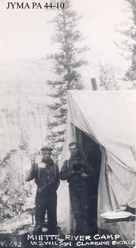 W.S. Wilson and Clarence Bickle at the Miette Camp, Alberta.