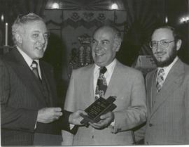 Zane Feldman, Hy Leibo and Rabbi Milton Polinsky.