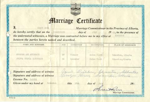 marriage certificate. - alberta on record