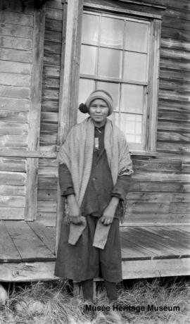 Girl in front of Le Goff, Cold Lake school, Alberta
