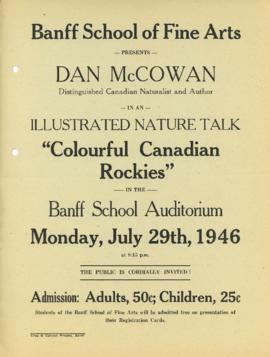 """Colourful Canadian Rockies"" : [poster for Dan McCowan talk]"
