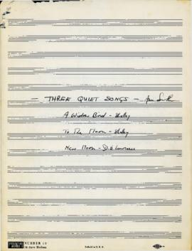 """Three Quiet Songs"" by Ann Southam : [score]"