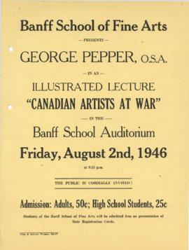 """Canadian Artists at War"" : [poster for George Pepper talk]"