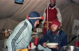 Laurie Skreslet, James Blench, and Jim Elzinga at Base Camp : [slide]