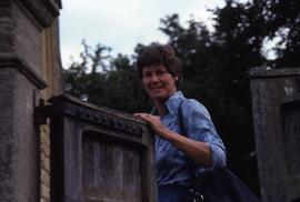 Ann Southam at garden gate : [slide]