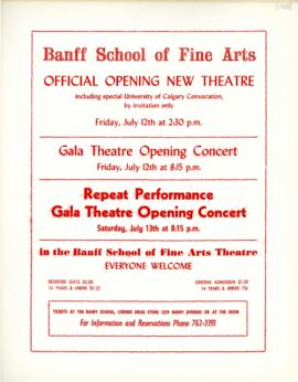 "SF 462 - ""Banff School of Fine Arts : Official Opening New Theatre"" : [poster]"