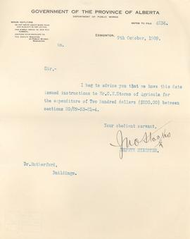 Correspondence from the Public Works department to A.C. Rutherford
