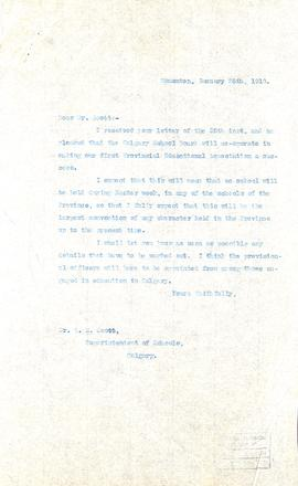 Correspondence from the Premier of Alberta to the Superintendent of Schools in Calgary, Alberta
