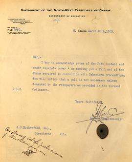 Correspondence from the Deputy Commissioner to A.C. Rutherford
