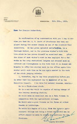 Memorandum to A.C. Rutherford from the Department of Agriculture