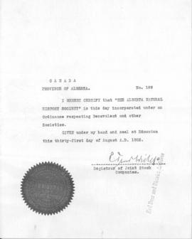 Alberta Natural History Society incorporation certificate