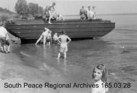 Children with an amphibious vehicle, Prairie Command Display.
