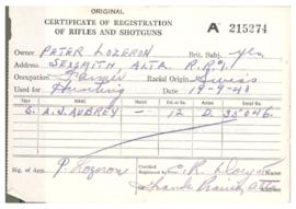 Certificate of Registration of Rifles and Shotguns