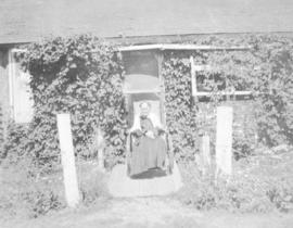 Mrs. Watt (Mrs. Daggett's mother) in a wheelchair at Cochrane Ranch, Millarville, AB.