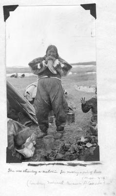 Eskimo Woman Chewing Sealskin