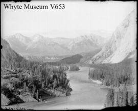 C.P.R. trip 1894. Banff, Inglesmaldie [sic] & Valley of the Bow River from band stand, C.P.R....