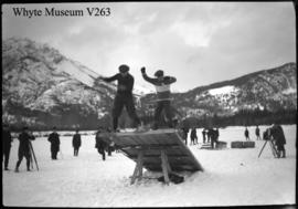 Banff Winter Carnival, snowshoe obstacle race