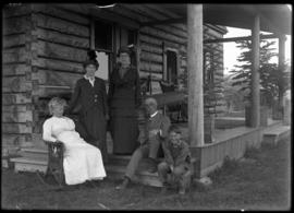 Family on porch of Jumping Pound homestead