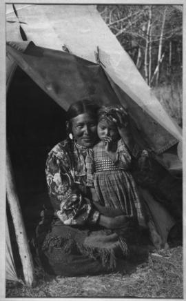 The Indian Madonna [Stoney Indian mother with child at Kootenay Plains]