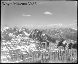 S.E. from summit of Mt. Stephen, Victoria, Lefroy, Hungabee, Deltaform, Biddle, Assiniboine &c (No.19). 7/21/00