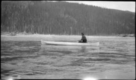 Man in canoe on Columbia River