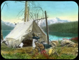 Looking for goat while baking bread.  Camp at lower end of Maligne Lake