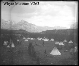 Indian village : [Stoney Indian camp] / George Paris