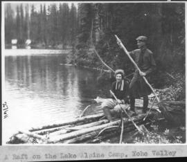 A raft on the lake, Alpine Camp, Yoho Valley / 27611