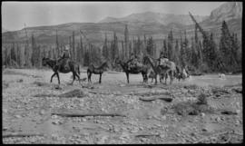 Stoney Indians with pack train fording stream at Kootenay Plains
