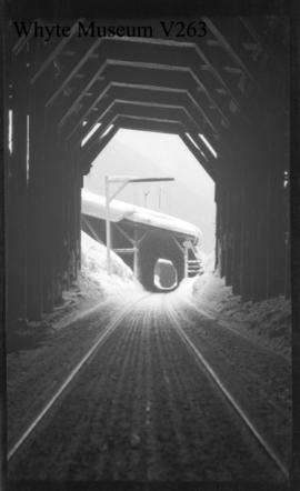 Glacier winter scenes, train entering snowshed