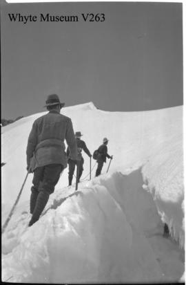 Ascending snow slope on Mt. Habel, sheet film