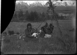 Indian mother and child at Kootenay Plains possibly Mrs. Silas Abraham