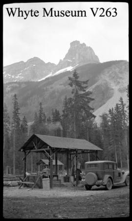 Old car and picnic shelter, 1/2 stereo