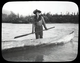 At the Fraser in 1908 [Unidentified man in dugout canoe]